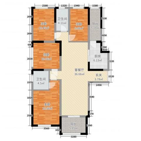 万景城4室2厅2卫1厨136.00㎡户型图