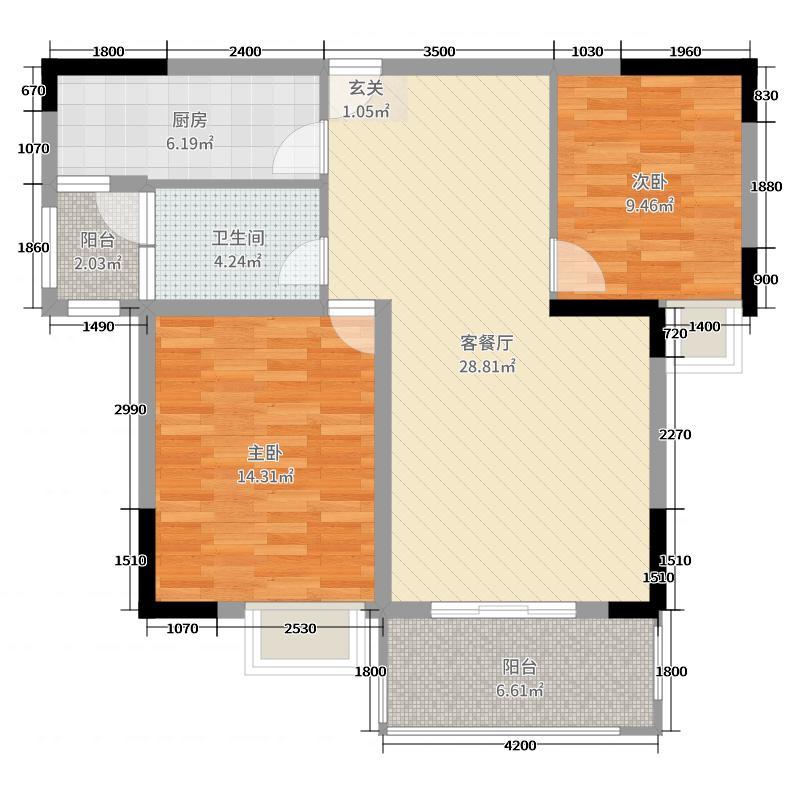 豪家名苑91.52㎡一期1/5栋1/2/3座标准层02户型2室2厅2卫