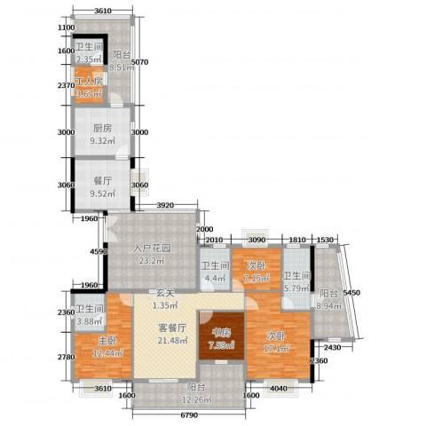 星河湾畔4室3厅4卫1厨197.00㎡户型图