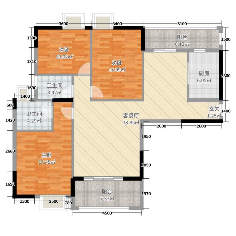 豪家名苑134.00㎡一期3栋1座标准层01户型3室3厅2卫