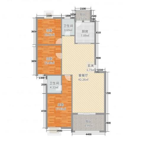 阳光新城3室2厅2卫1厨129.00㎡户型图
