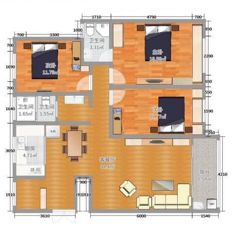 天城中央公馆3室2厅3卫1厨123.00㎡户型图