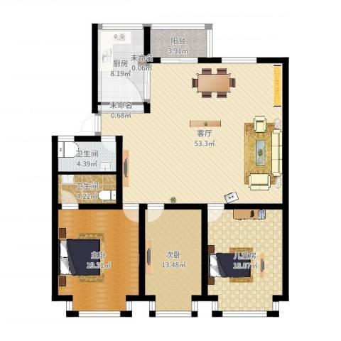 福林苑3室1厅4卫1厨178.00㎡户型图