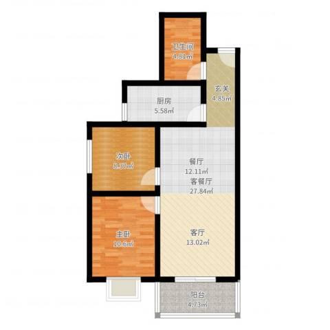 凤鸣华府颐和郡2室2厅1卫1厨77.00㎡户型图