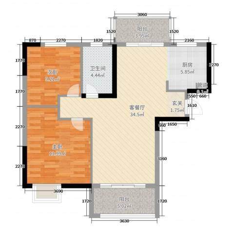 鸿威鸿景雅园2室2厅1卫0厨89.00㎡户型图