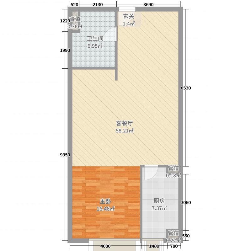 海亮誉峰93.06㎡D户型1室1厅1卫1厨
