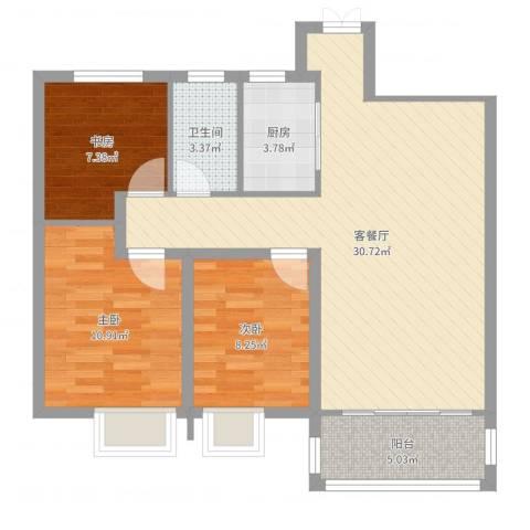 世茂君望墅3室2厅1卫1厨87.00㎡户型图