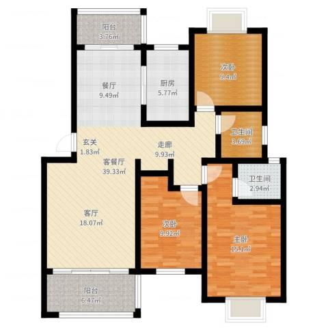 随县神龙湾3室2厅2卫1厨120.00㎡户型图