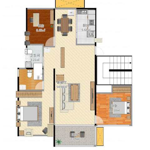 东湖怡景园2室2厅1卫1厨119.00㎡户型图