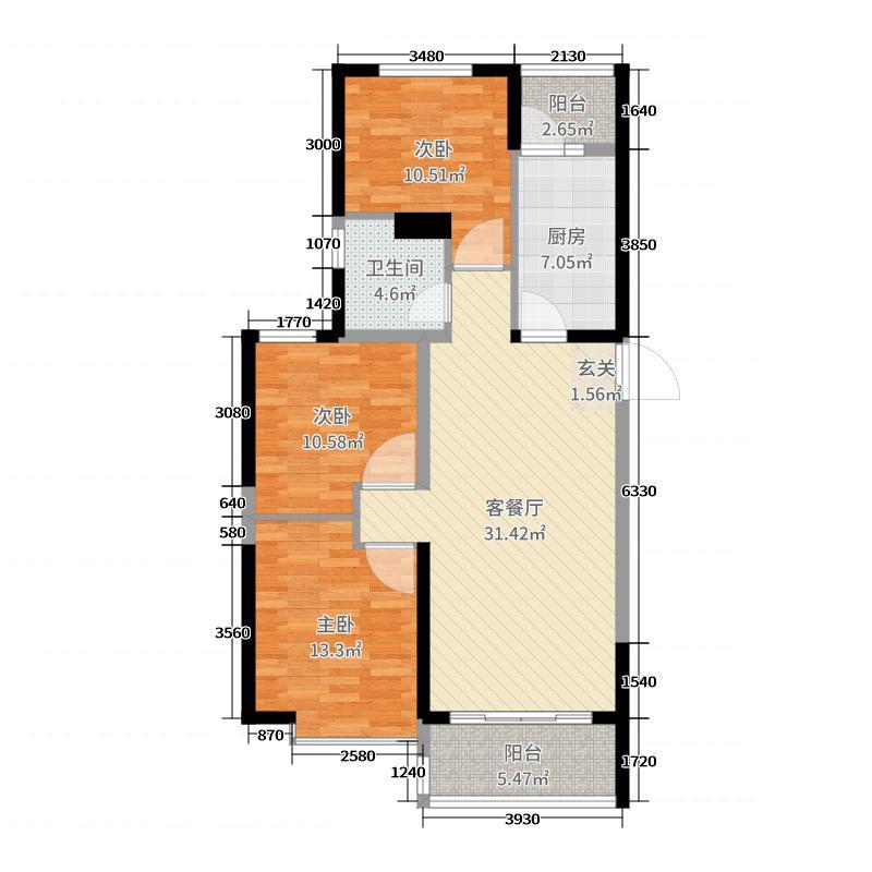 恒大帝景109.00㎡02、03、04、11、12#楼A/D户型3室3厅1卫1厨