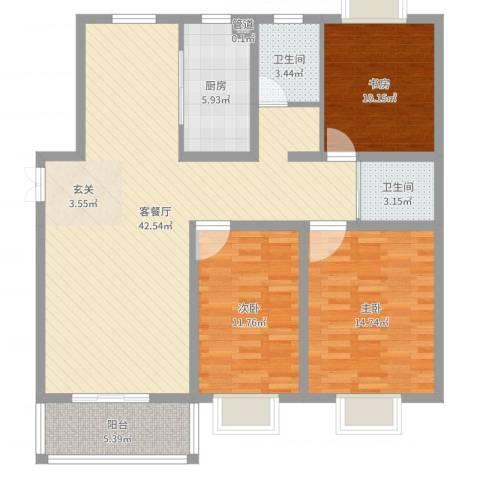 港利・锦绣江南3室2厅2卫1厨121.00㎡户型图