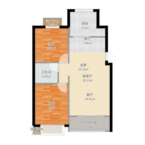 金洋石河湾2室2厅1卫1厨85.00㎡户型图