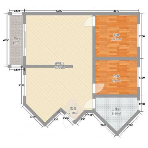 香格里拉桂花山城2室2厅1卫0厨96.00㎡户型图
