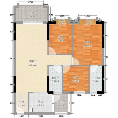 丽南名都3室2厅2卫1厨95.00㎡户型图