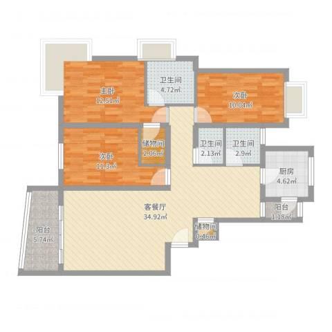 洪翔园3室2厅3卫1厨116.00㎡户型图