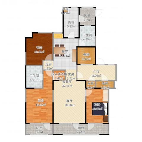 金基尚书里3室2厅2卫1厨143.00㎡户型图