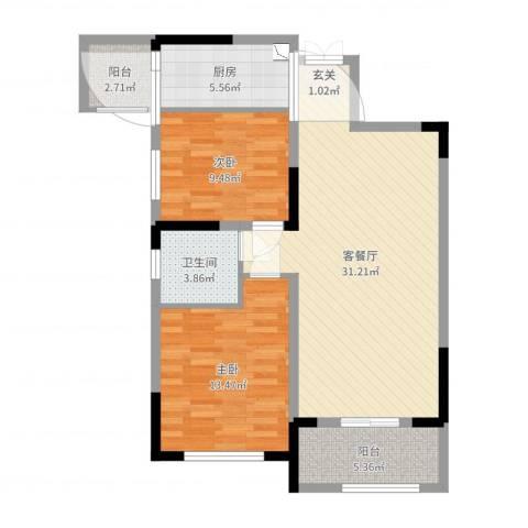 华仪富丽华城2室2厅1卫1厨90.00㎡户型图