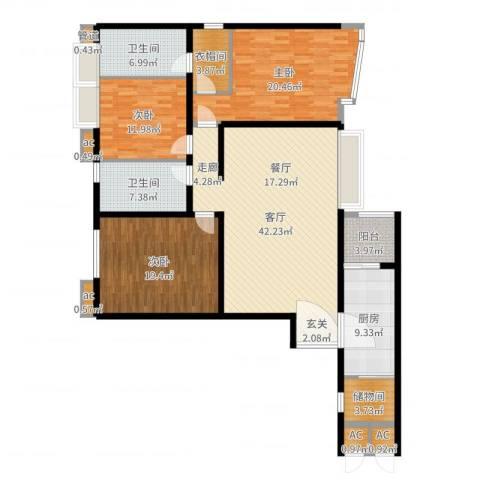 天誉花园3室1厅2卫1厨166.00㎡户型图