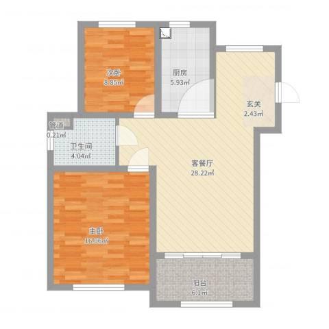 天池湾2室2厅2卫1厨87.00㎡户型图