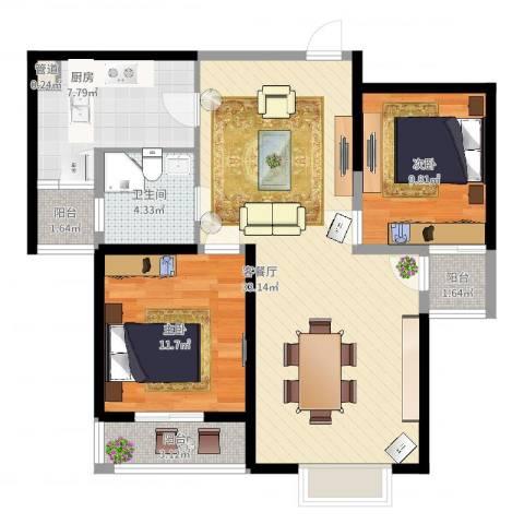 蓝鼎滨湖假日枫丹苑2室2厅1卫1厨104.00㎡户型图