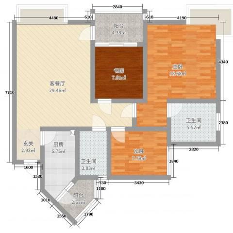 香格里拉桂花山城3室2厅2卫1厨119.00㎡户型图