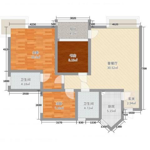 香格里拉桂花山城3室2厅2卫1厨116.00㎡户型图