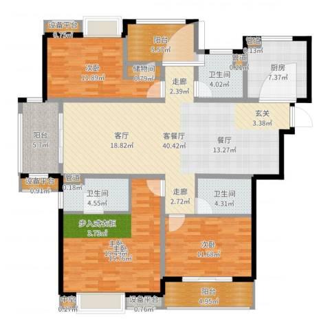 世茂君望墅3室2厅3卫1厨155.00㎡户型图