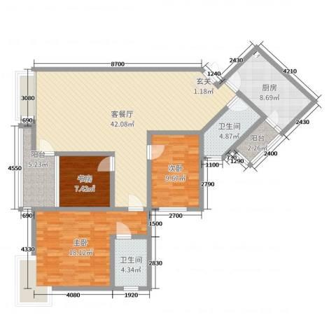 香格里拉桂花山城3室2厅2卫1厨137.00㎡户型图