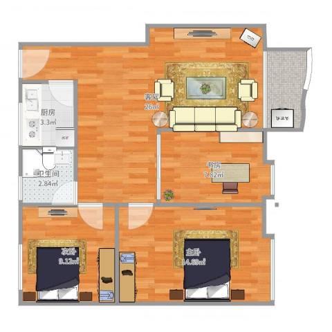 都市花园3室1厅1卫1厨83.00㎡户型图