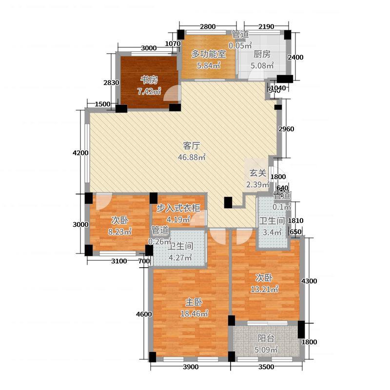 新湖菲林120.00㎡B户型5室5厅2卫1厨