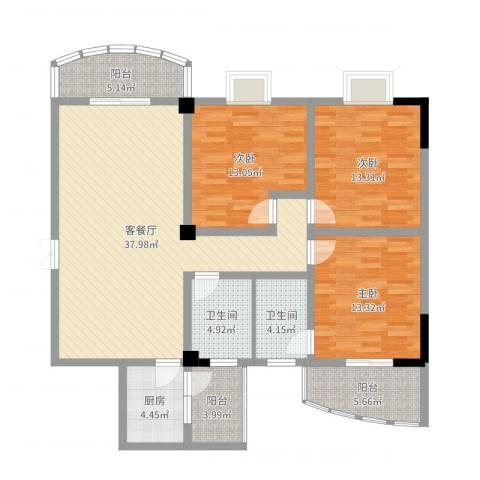 金庭家园3室2厅2卫1厨132.00㎡户型图