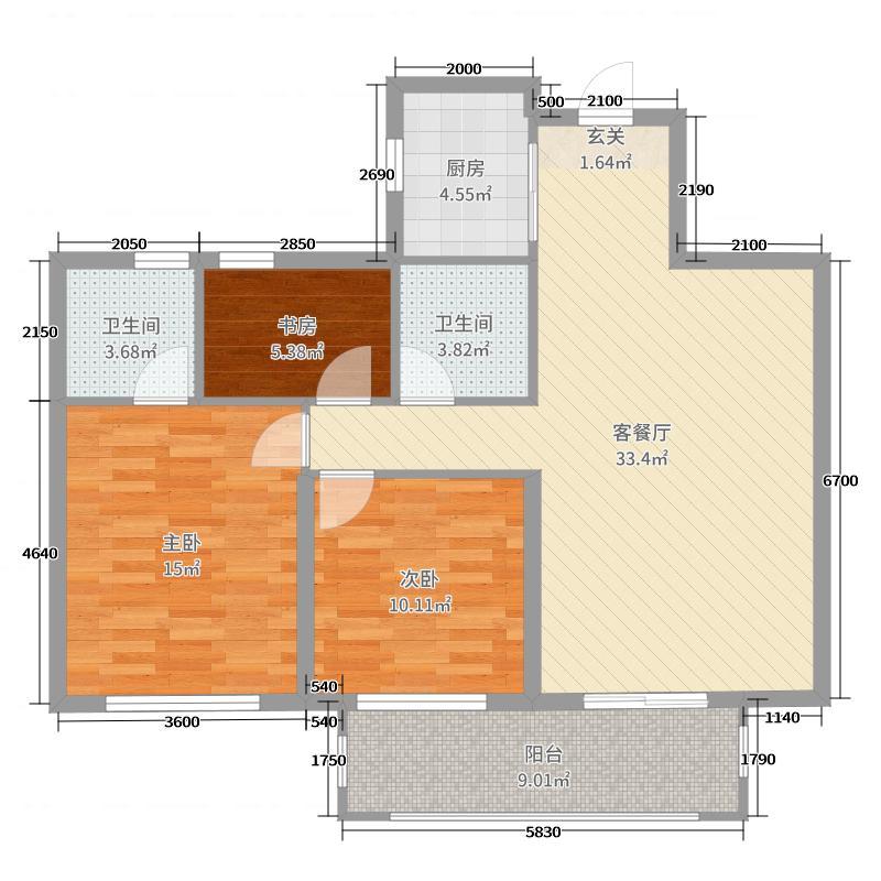 石牛温泉・御泉湾109.68㎡御泉湾B2+户型3室3厅2卫