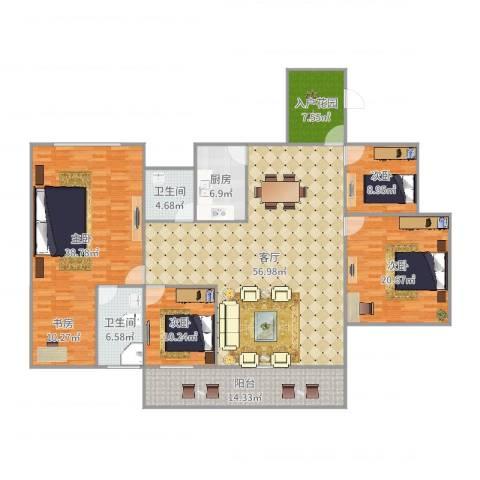 (龙华新区)星河丹堤F区7120284室1厅2卫1厨220.00㎡户型图