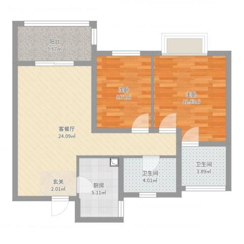 莱蒙水榭阳光2室2厅2卫1厨80.00㎡户型图