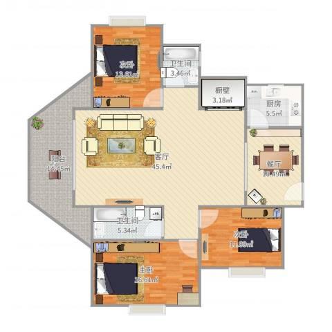 莫奈印象3室2厅2卫1厨163.00㎡户型图