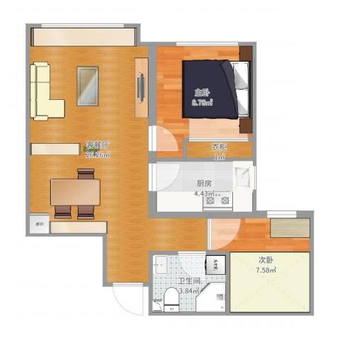 橡树湾75㎡两室两厅一厨一卫-LR0062室2厅1卫1厨65.00㎡户型图
