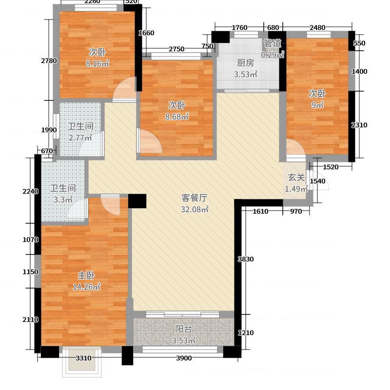 旗山领秀107.00㎡8/9号楼C5户型4室4厅2卫1厨