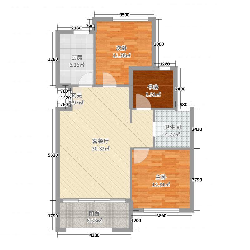 山居郦城95.90㎡D户型3室3厅2卫1厨