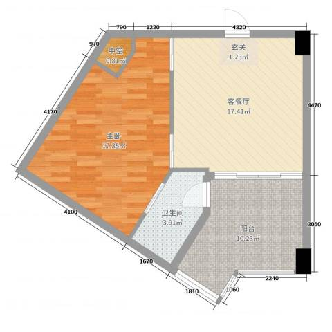 绿洲・凯德堡1室2厅1卫0厨66.00㎡户型图