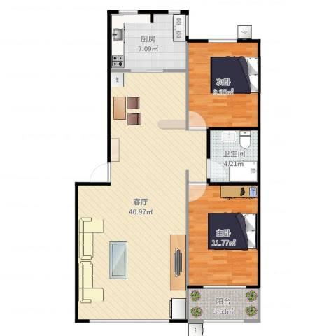 三山新新家园-88平两居室2室1厅1卫1厨97.00㎡户型图