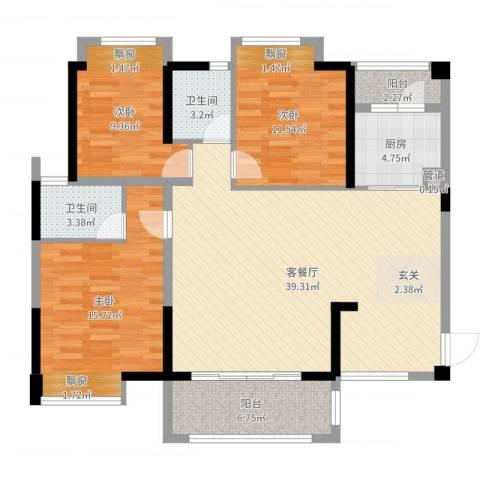 卓越东部蔚蓝海岸别墅3室2厅2卫1厨121.00㎡户型图
