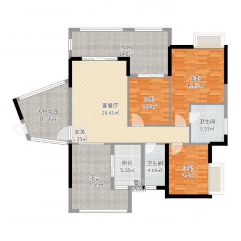 依云小镇3室2厅2卫1厨143.00㎡户型图