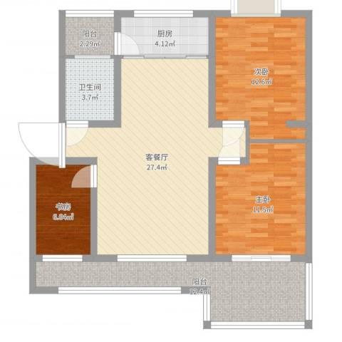 怡景华庭3室2厅1卫1厨100.00㎡户型图