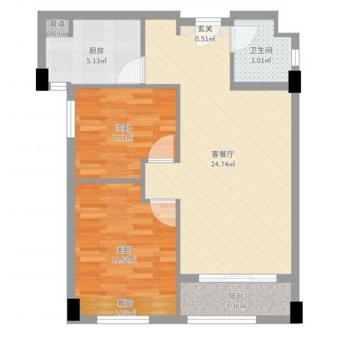 红河云岭・盛世佳园2室2厅1卫1厨70.00㎡户型图
