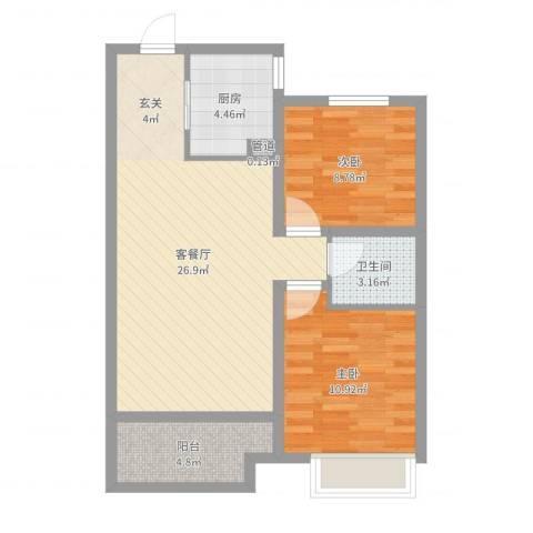 兴业春天二、三期2室2厅1卫1厨74.00㎡户型图
