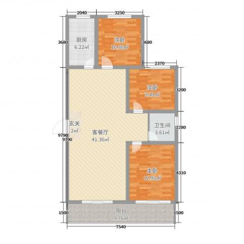 金桥天海湾3室2厅1卫1厨117.00㎡户型图