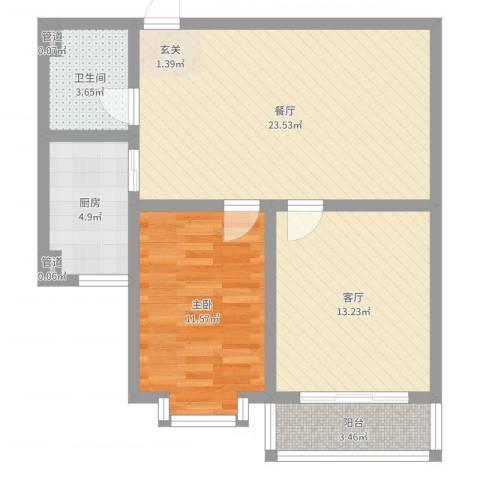 福祉家园1室2厅1卫1厨88.00㎡户型图
