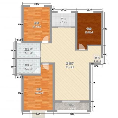 金桥天海湾3室2厅2卫1厨124.00㎡户型图
