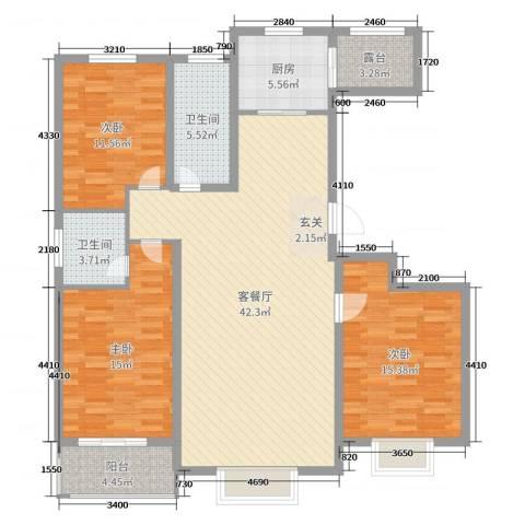 金桥天海湾3室2厅2卫1厨133.00㎡户型图