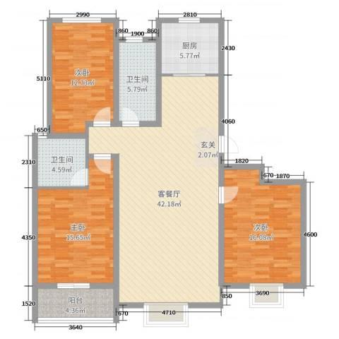 金桥天海湾3室2厅2卫1厨134.00㎡户型图